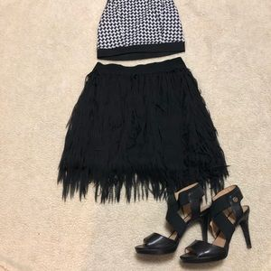 Feathery fringe miniskirt